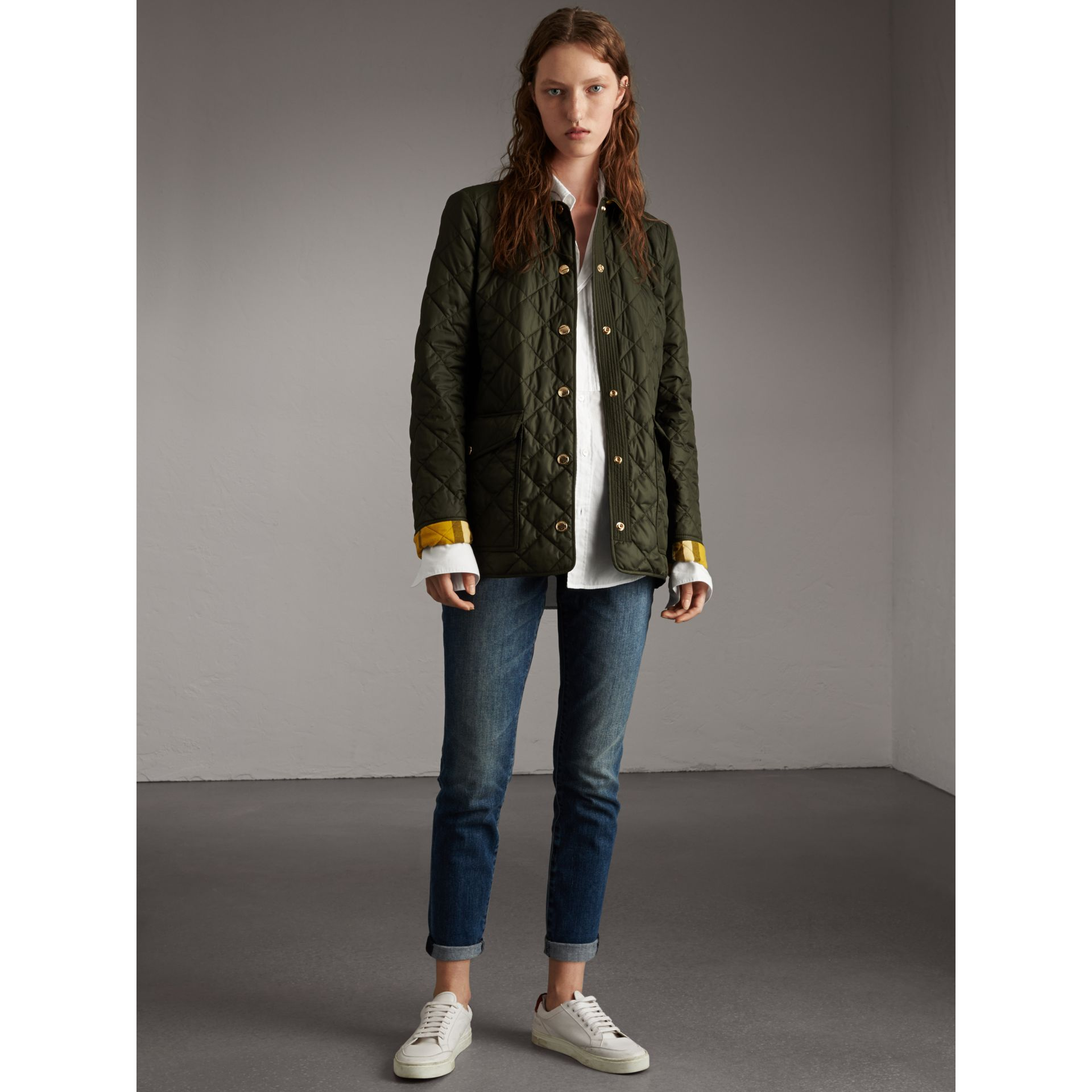 Check Detail Diamond Quilted Jacket in Military Green - Women | Burberry - gallery image 7