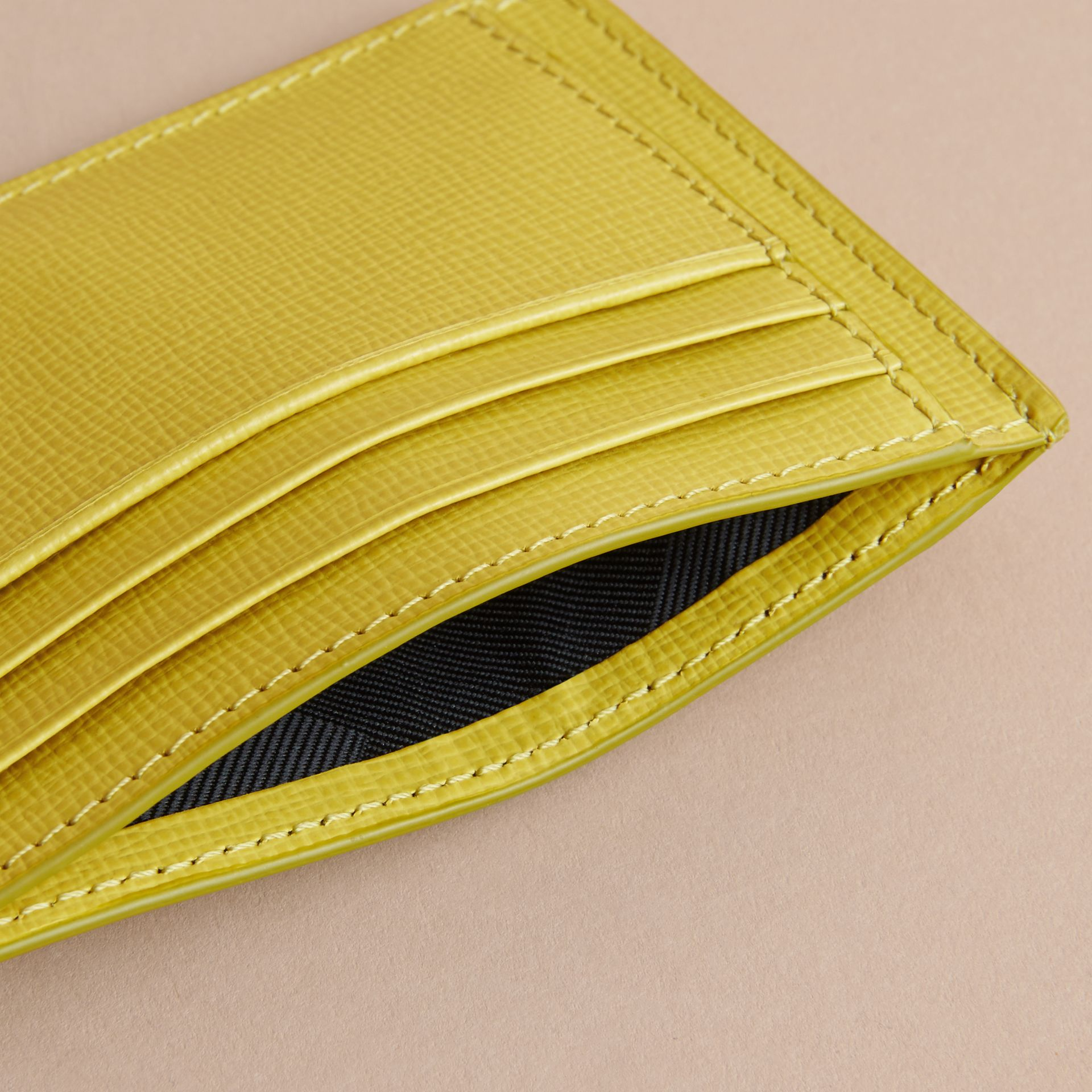 London Leather Card Case in Bright Citrus | Burberry - gallery image 4