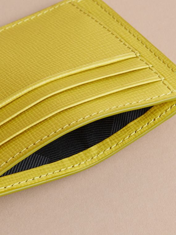 London Leather Card Case in Bright Citrus | Burberry - cell image 3
