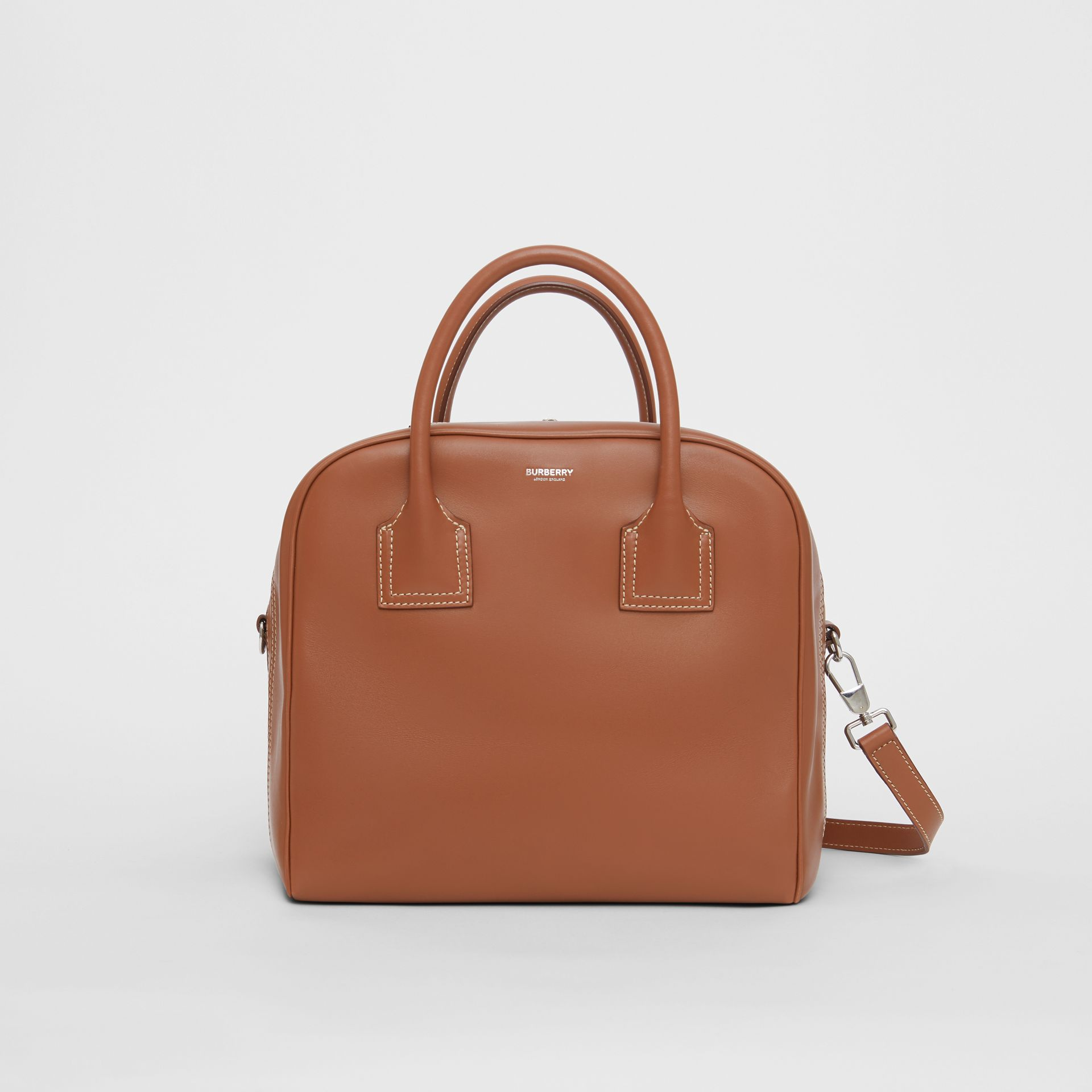 Medium Leather Cube Bag in Malt Brown - Women | Burberry - gallery image 0