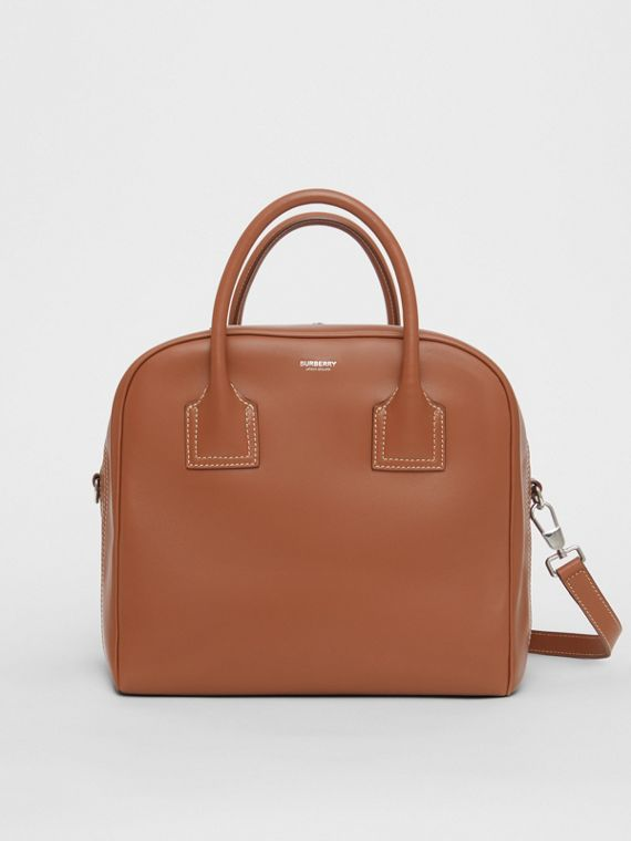 Medium Leather Cube Bag in Malt Brown