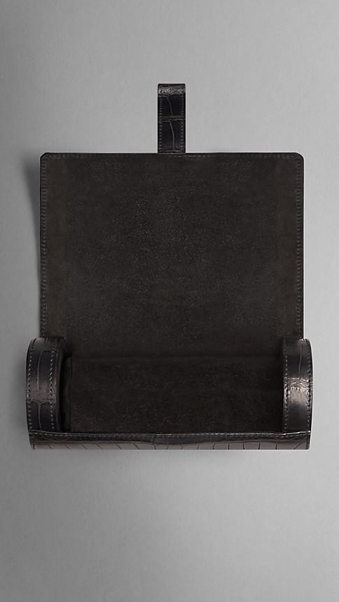 Black Alligator Leather Watch Travel Case - Image 4