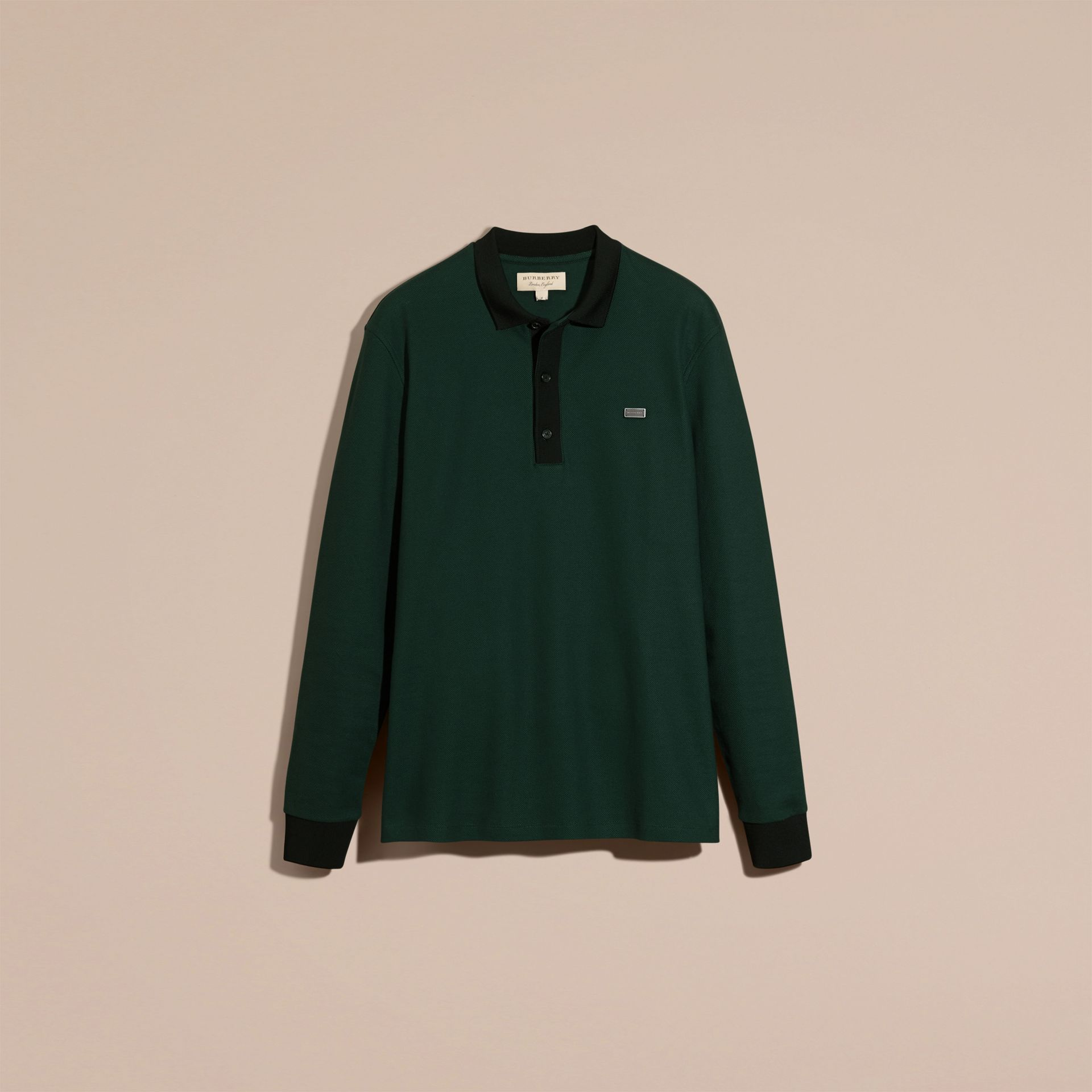 Forest green/black Long-sleeved Cotton Piqué Polo Shirt Forest Green/black - gallery image 4
