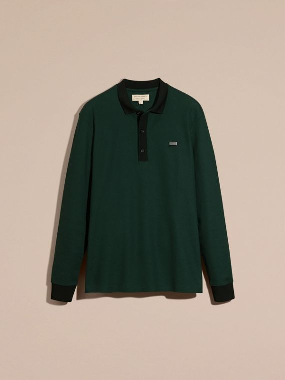 Forest green/black Long-sleeved Cotton Piqué Polo Shirt Forest Green/black - cell image 3
