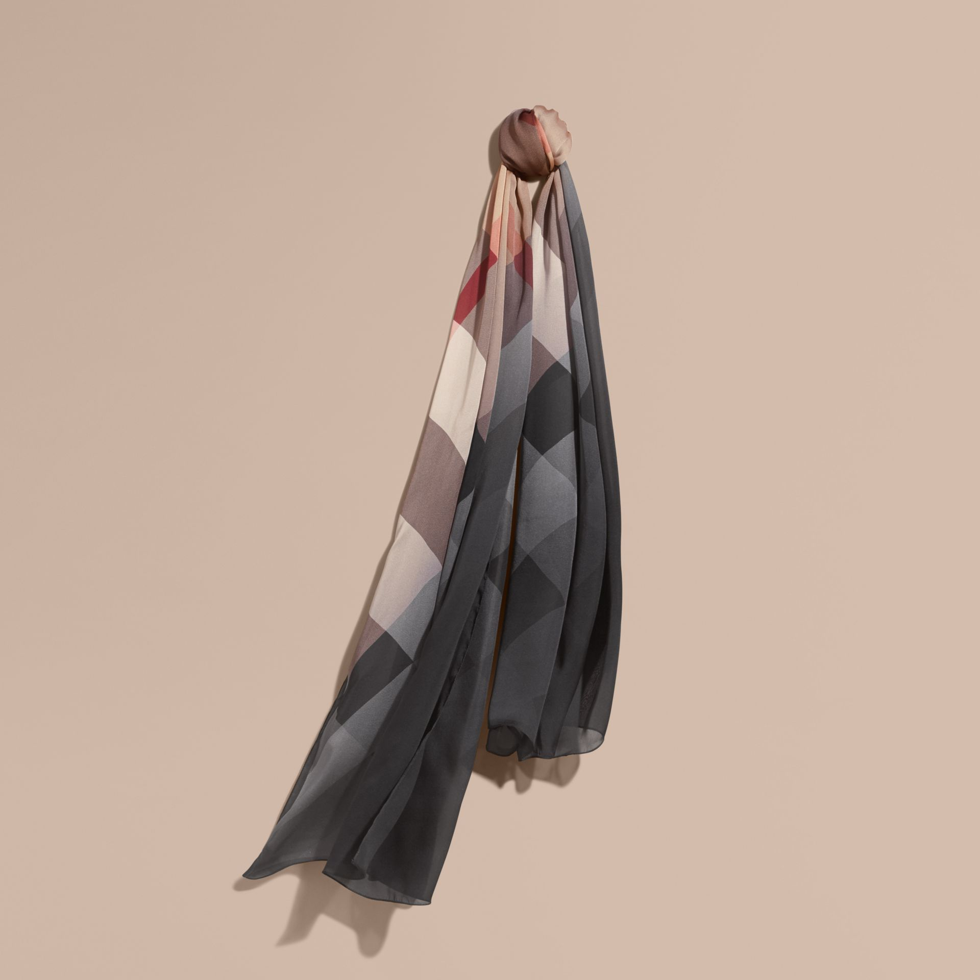 Ombré Washed Check Silk Scarf Camel/black - gallery image 1