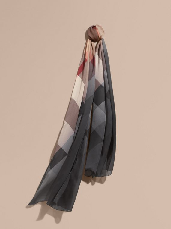 Ombré Washed Check Silk Scarf in Camel/black