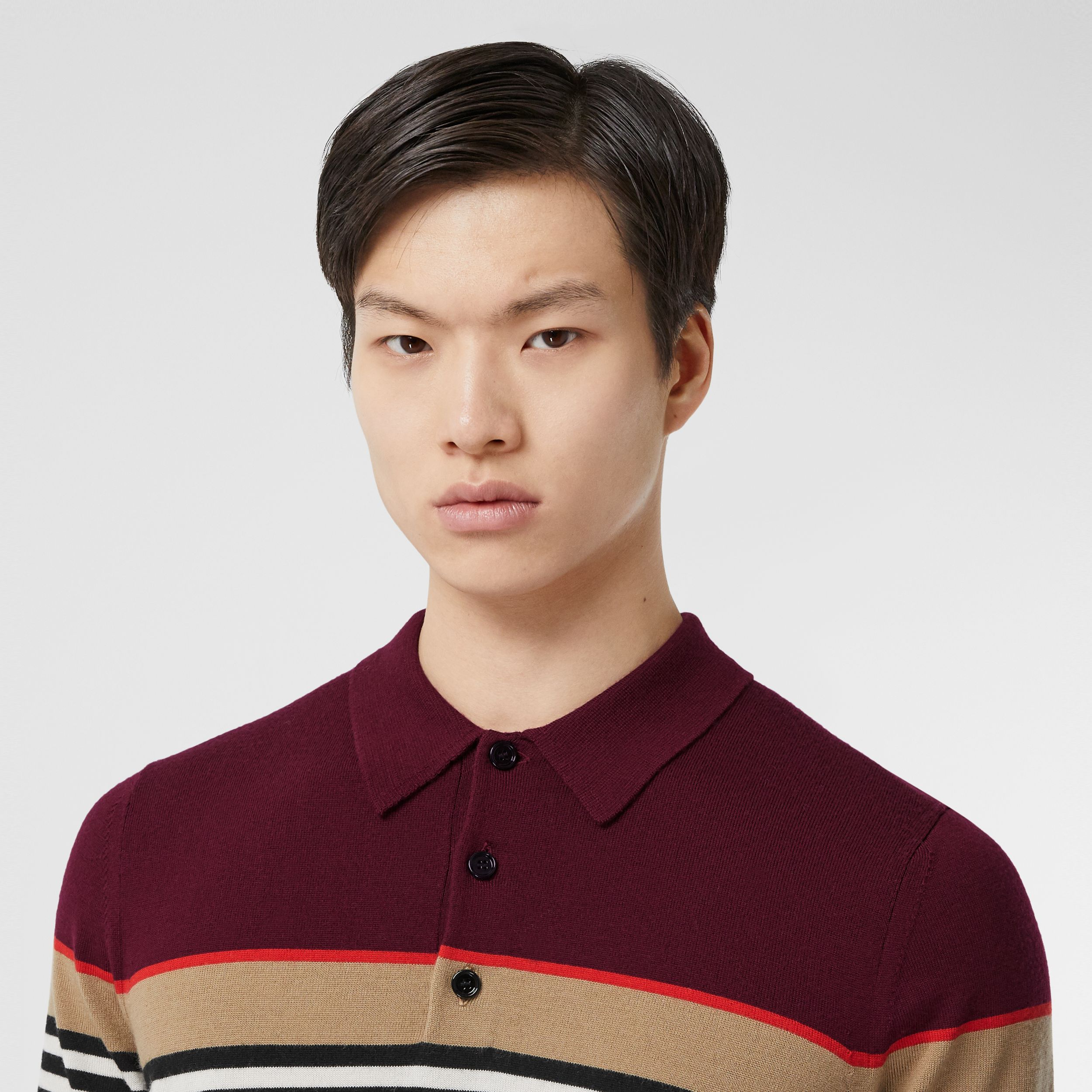 Icon Stripe Detail Merino Wool Polo Shirt in Deep Merlot - Men | Burberry - 2