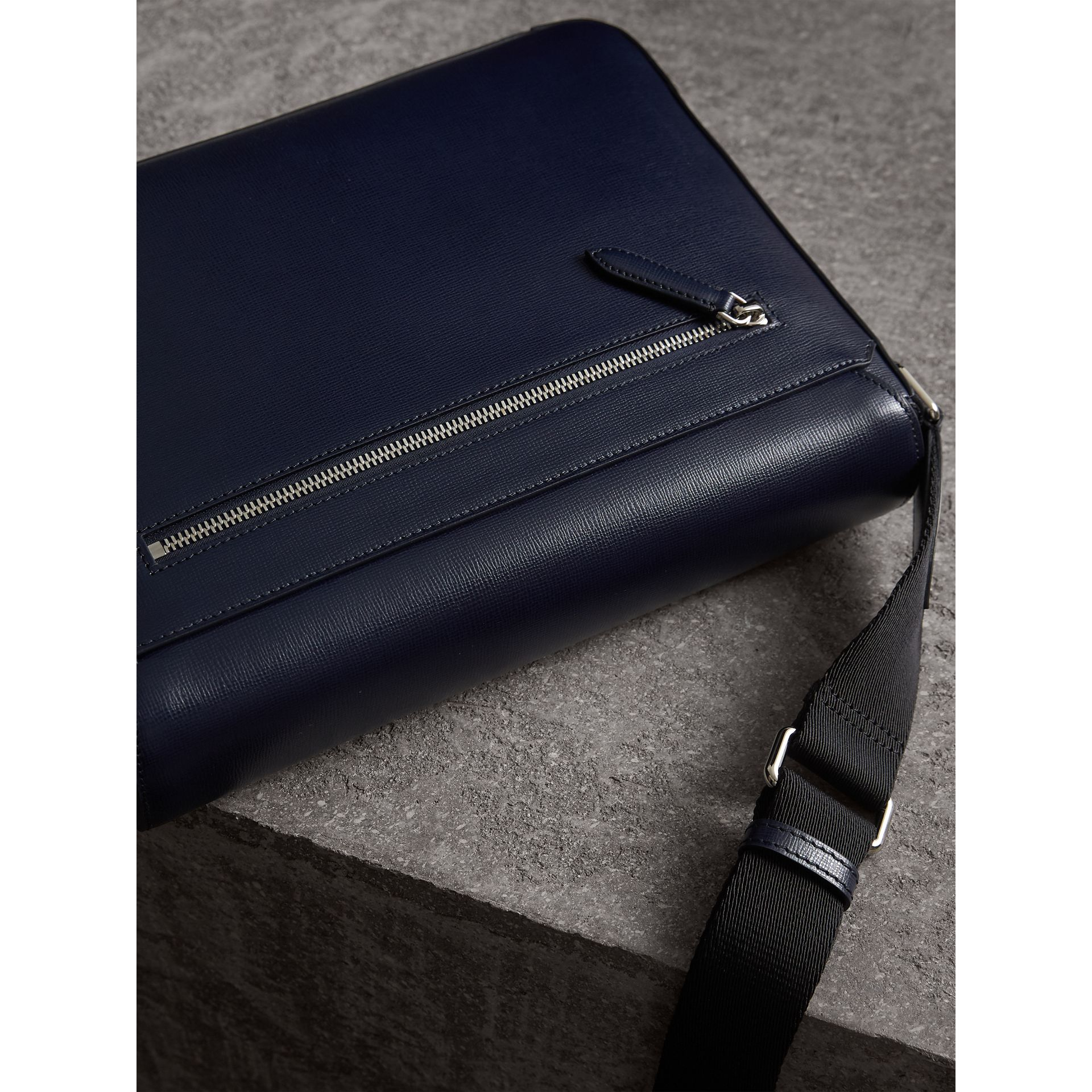 Medium London Leather Messenger Bag in Dark Navy - Men | Burberry - gallery image 4