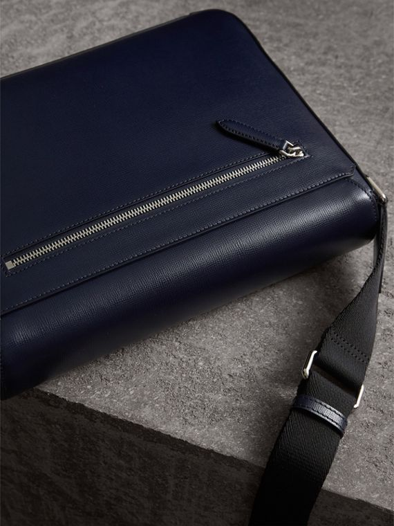 Medium London Leather Messenger Bag in Dark Navy - Men | Burberry - cell image 3