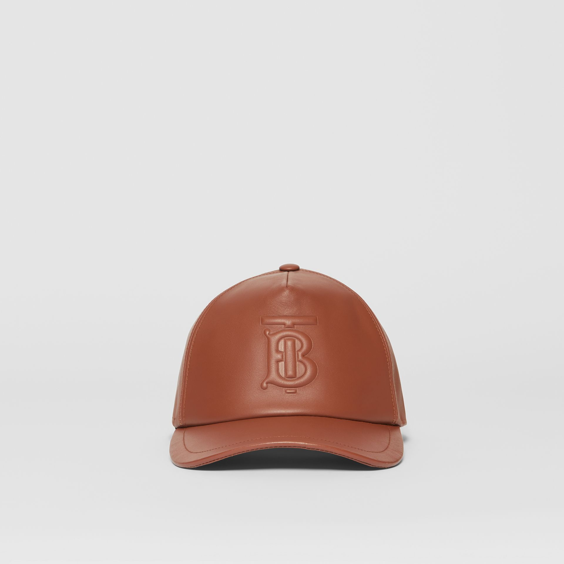Monogram Motif Leather Baseball Cap in Tan | Burberry - gallery image 4