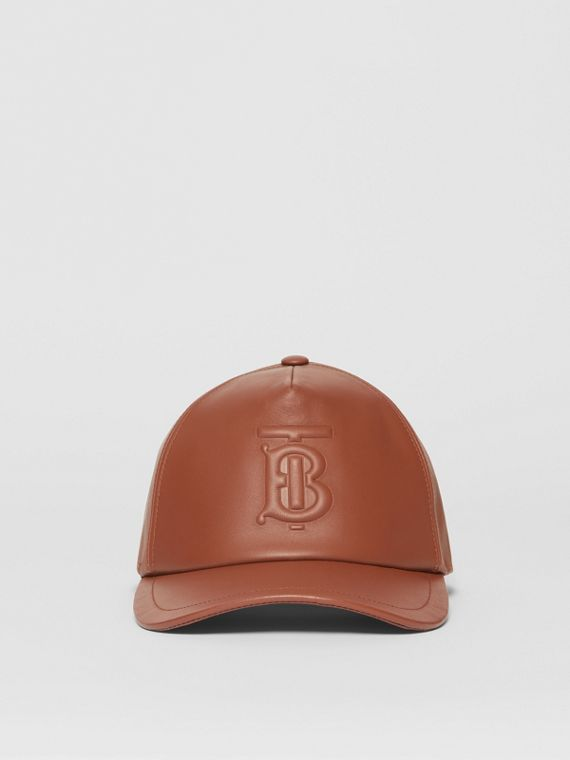 Monogram Motif Leather Baseball Cap in Tan