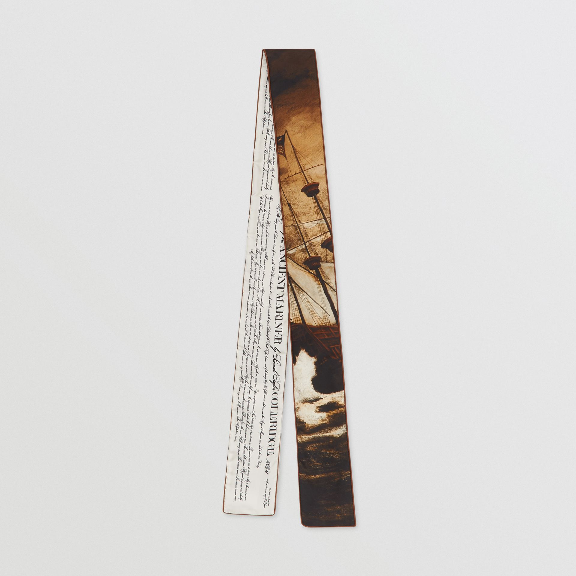 Mariner Print Silk Skinny Scarf in Brown | Burberry United States - gallery image 0