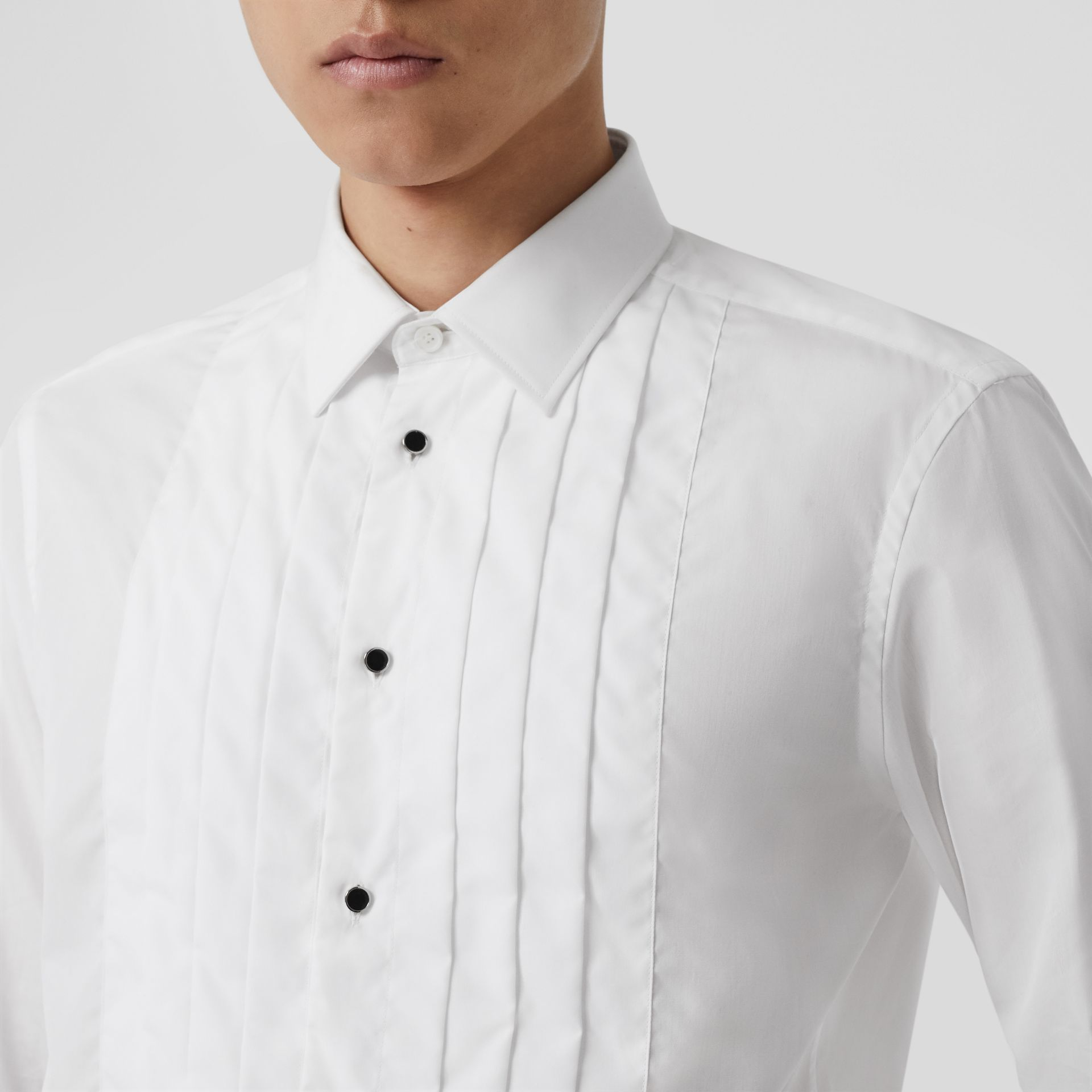 Pleated Bib Cotton Poplin Dress Shirt in Optic White - Men | Burberry - gallery image 5