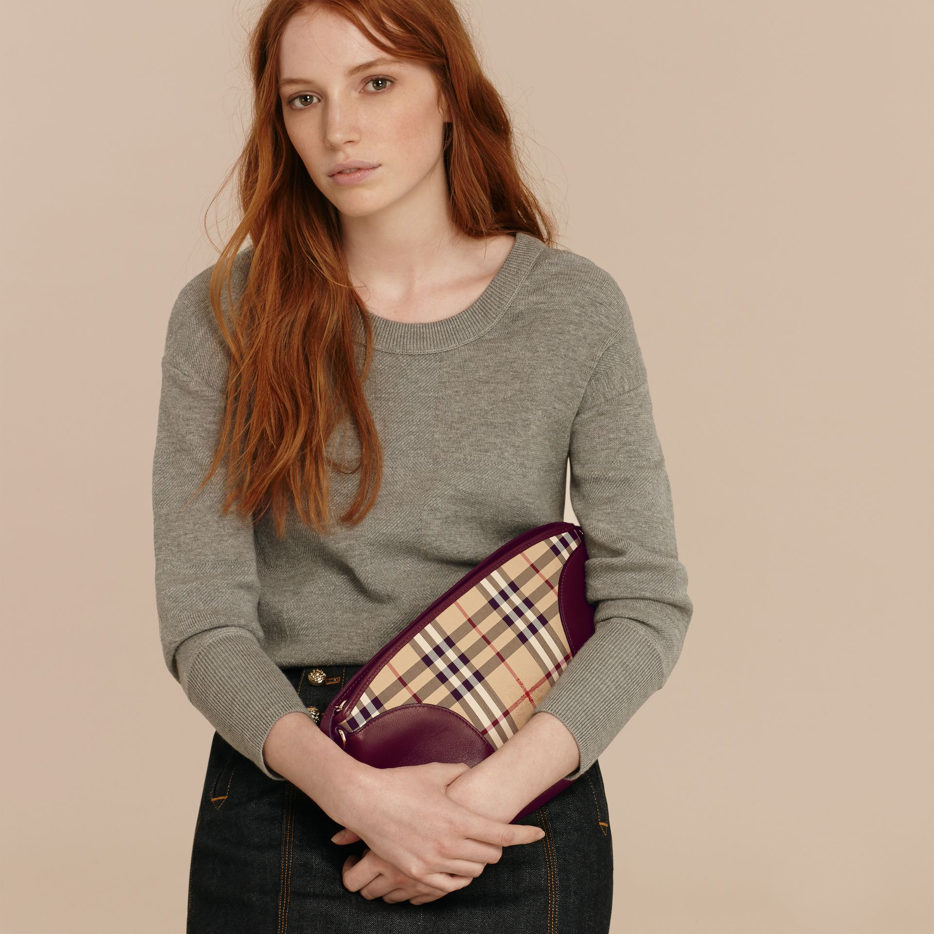 Honey/deep claret Horseferry Check and Leather Clutch Bag Honey/deep Claret - gallery image 3