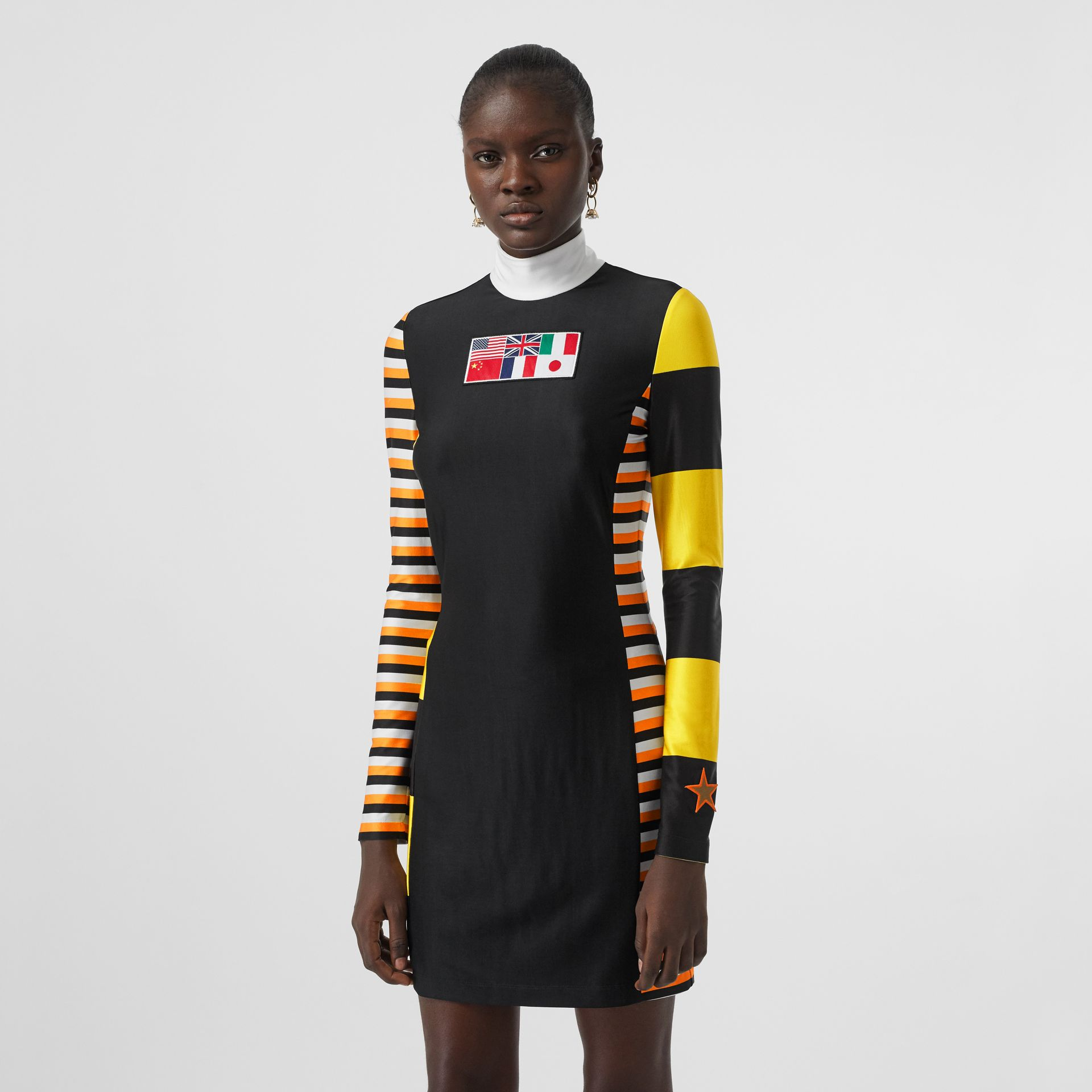 Flag Appliqué Striped Stretch Jersey Mini Dress in Black - Women | Burberry - gallery image 0