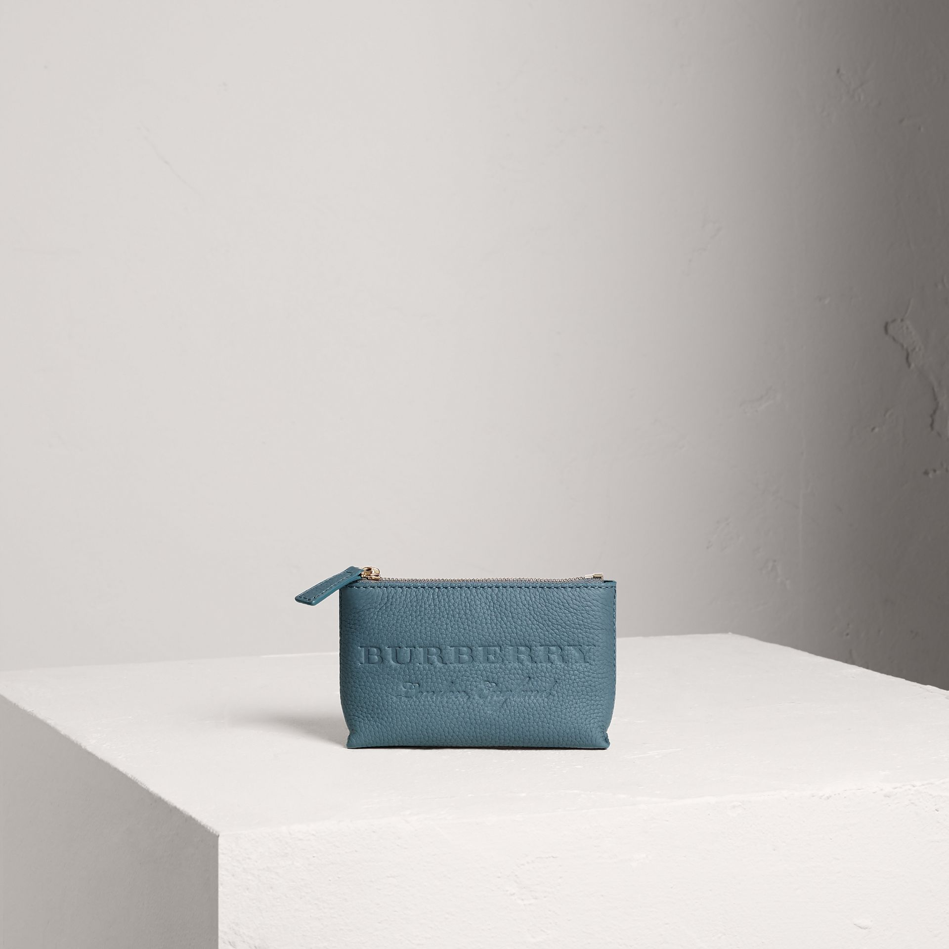 Small Embossed Leather Zip Pouch in Dusty Teal Blue | Burberry - gallery image 0