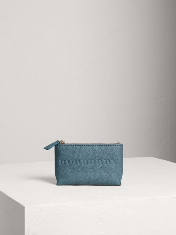 Small Embossed Leather Zip Pouch in Dusty Teal Blue