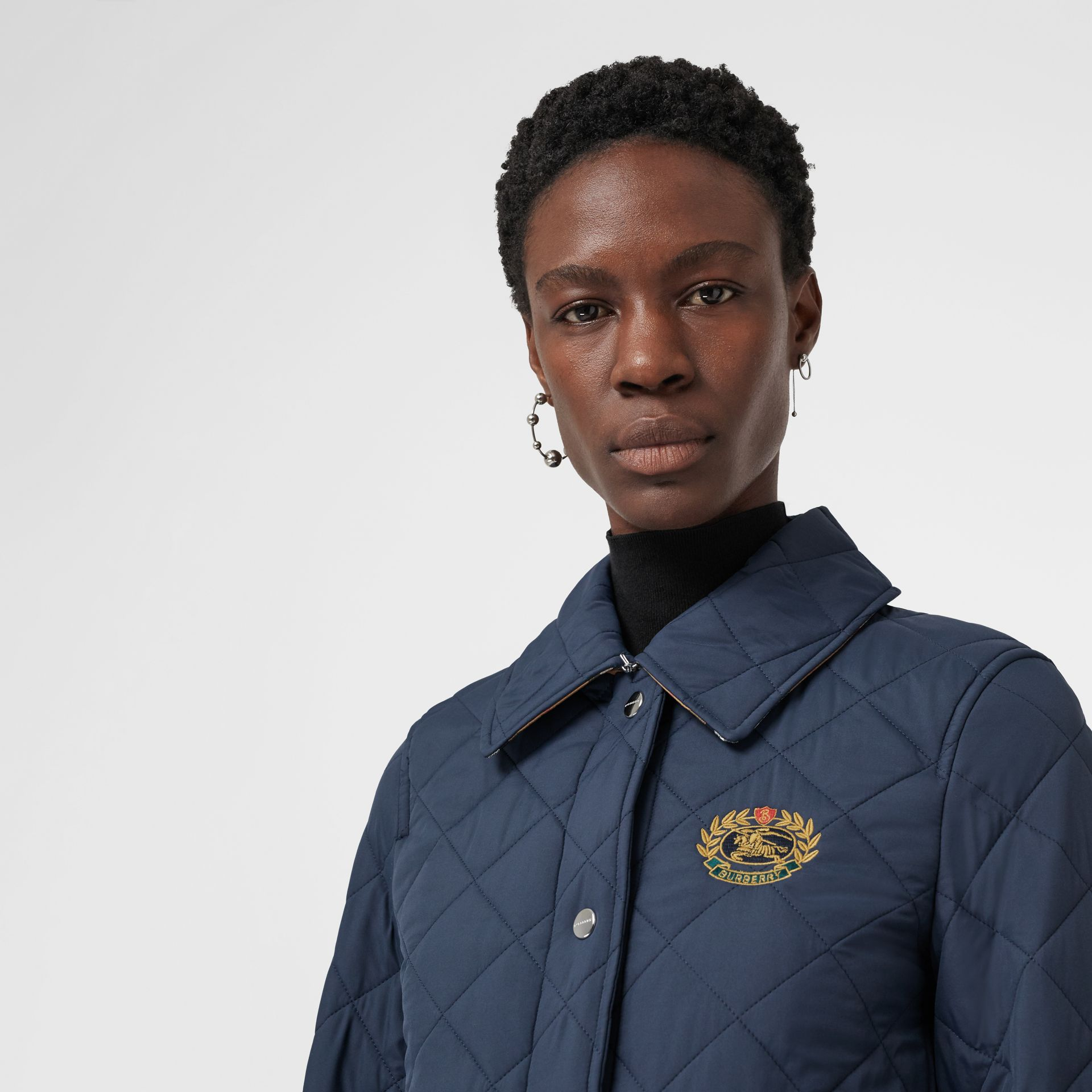 Embroidered Crest Diamond Quilted Jacket in Navy - Women | Burberry Australia - gallery image 4