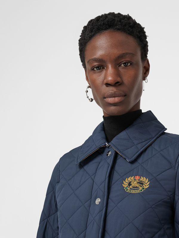 Embroidered Crest Diamond Quilted Jacket in Navy - Women | Burberry - cell image 3