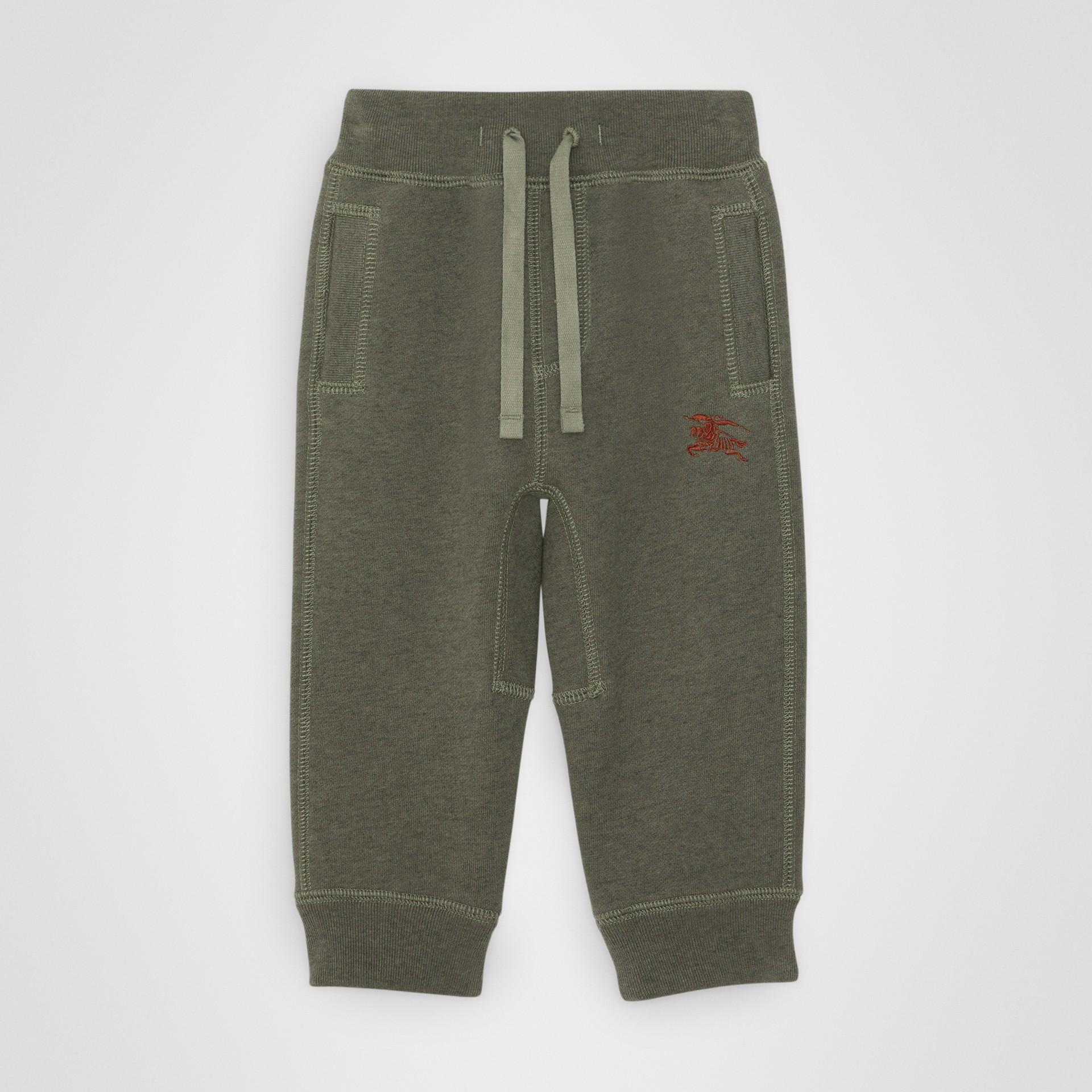 徽標繡飾棉質運動褲 (混合橄欖色) - 童款 | Burberry - 圖庫照片 0