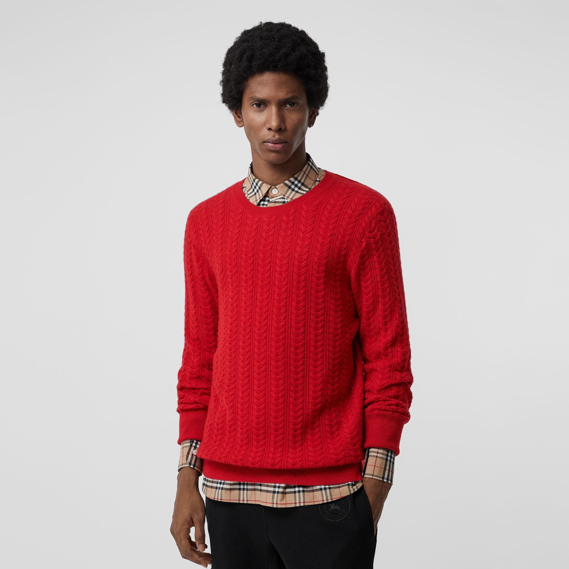 Cable Knit Cashmere Sweater in Military Red - Men | Burberry - gallery image 4