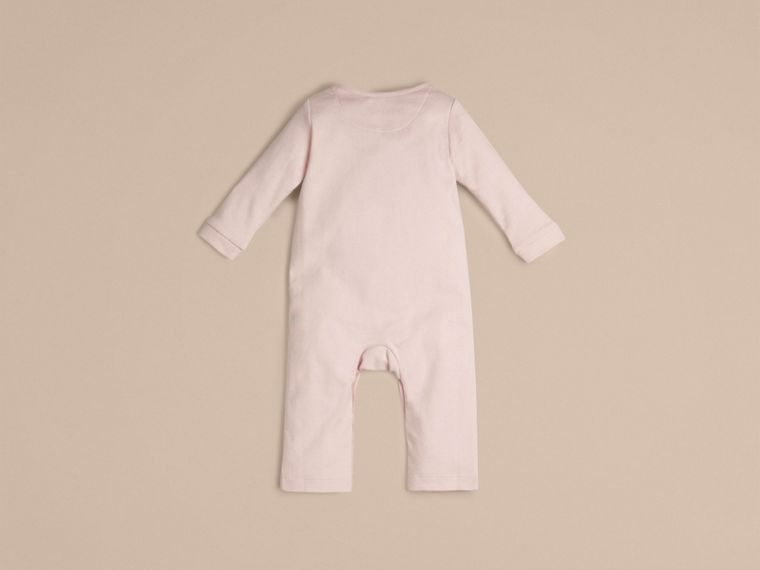 Check Trim Cotton Jumpsuit Powder Pink - cell image 1