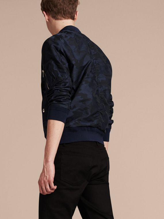 Navy Camouflage Jacquard Technical Bomber Jacket - cell image 2