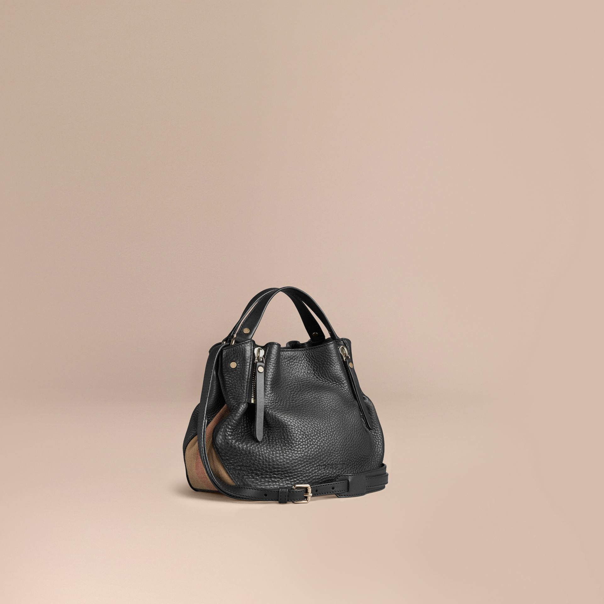 Black Small Check Detail Leather Tote Bag Black - gallery image 1