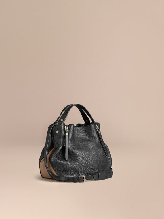 Small Check Detail Leather Tote Bag Black
