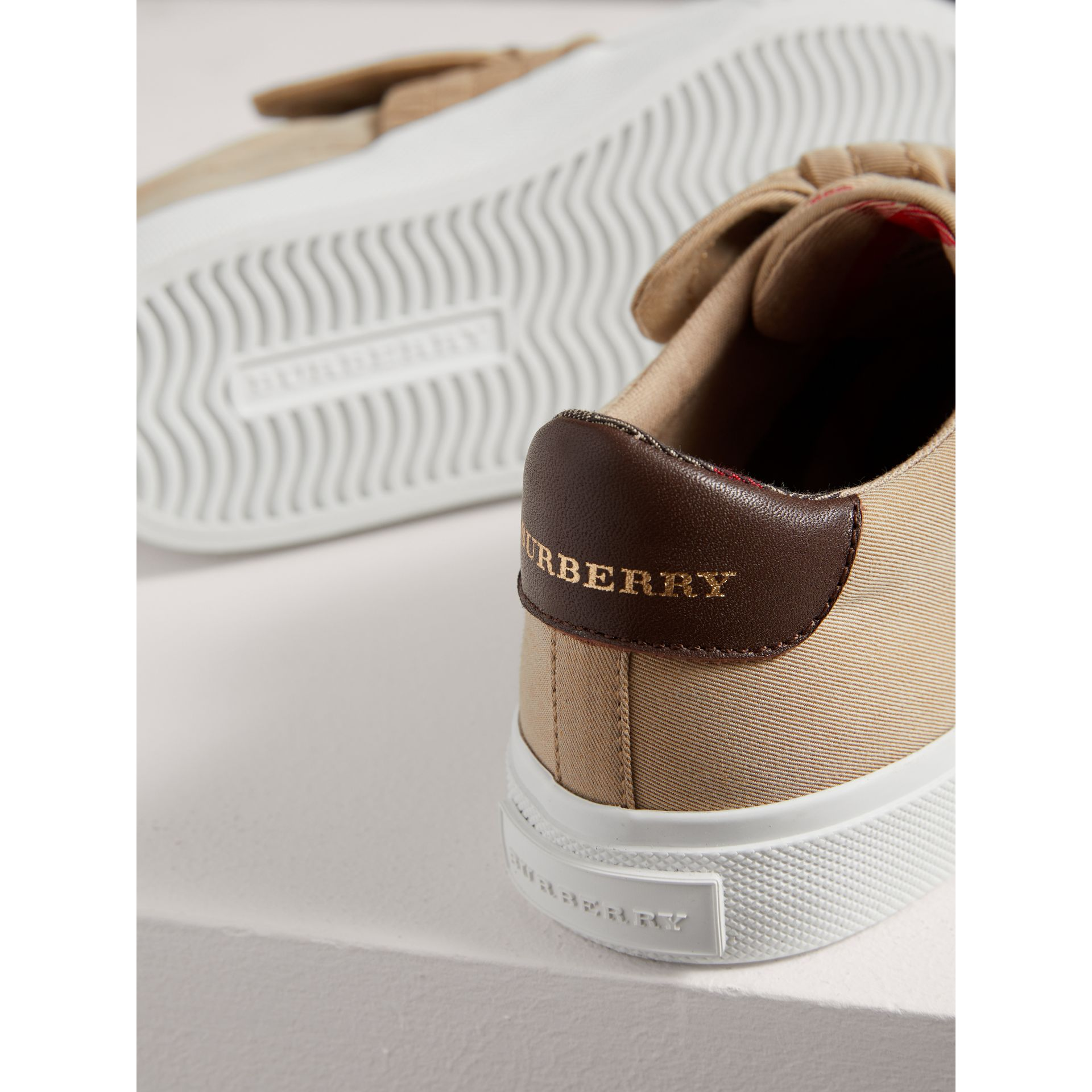 Trench Knot Gabardine Trainers in Honey | Burberry - gallery image 1