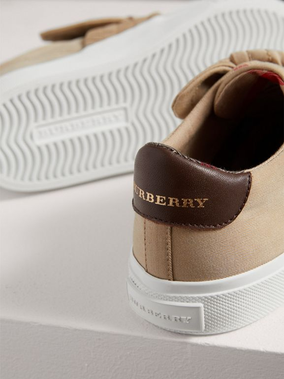 Trench Knot Cotton Gabardine Sneakers in Honey - Children | Burberry - cell image 1