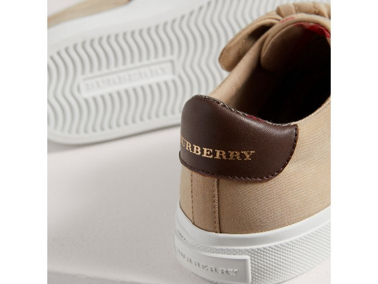 Trench Knot Gabardine Trainers in Honey | Burberry - cell image 1