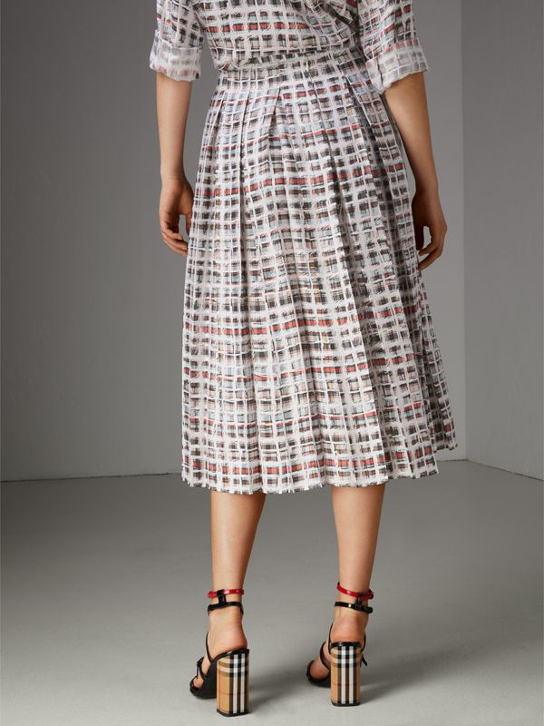 Pleated Scribble Check Silk Skirt in Cadmium Red - Women | Burberry - cell image 2