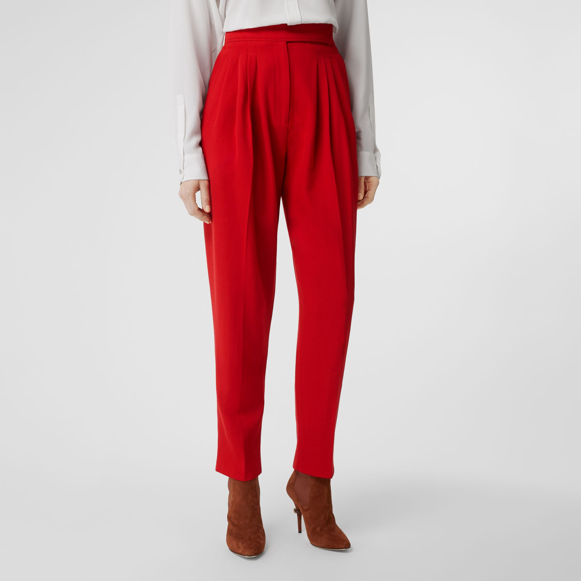 Pleat Detail Wool Tailored Trousers in Bright Red - Women | Burberry - gallery image 4