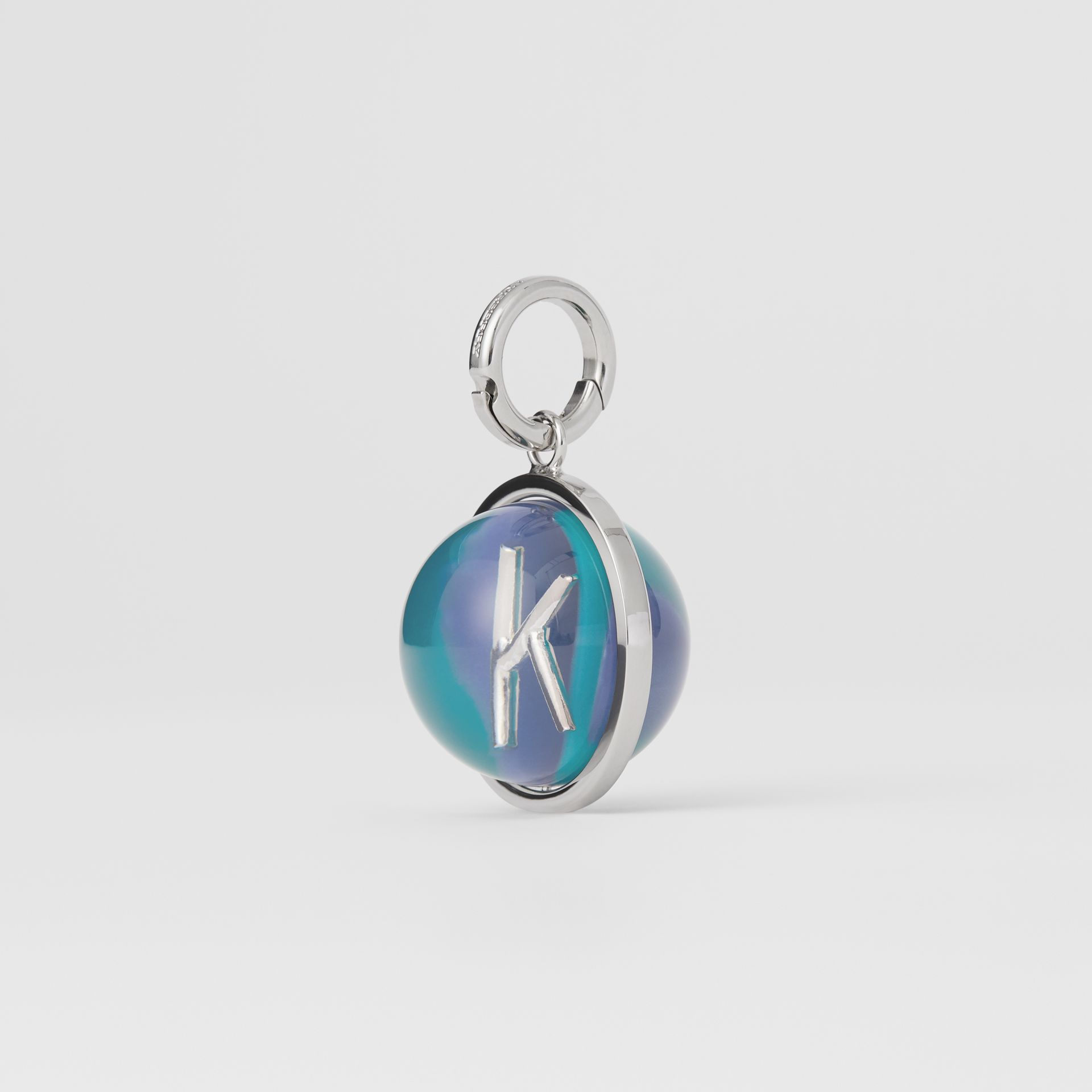 Marbled Resin 'K' Alphabet Charm in Palladio/ocean Blue - Women | Burberry - gallery image 4