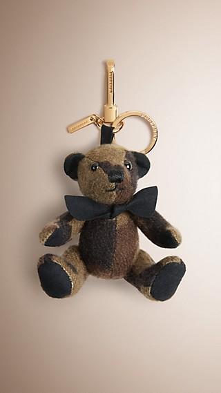 Ciondolo orsetto Thomas in cashmere con motivo camouflage
