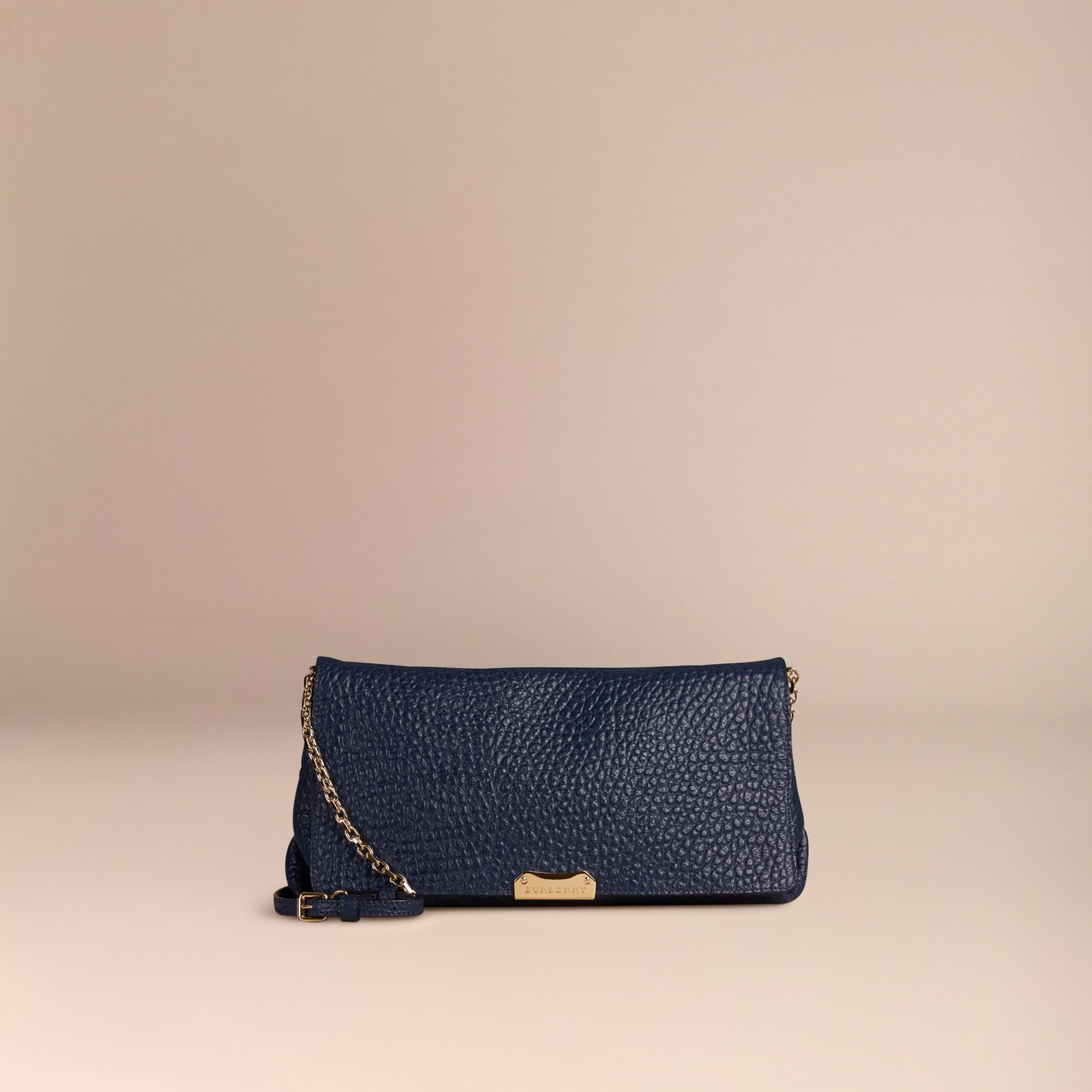 Blue carbon Medium Signature Grain Leather Clutch Bag Blue Carbon - gallery image 7