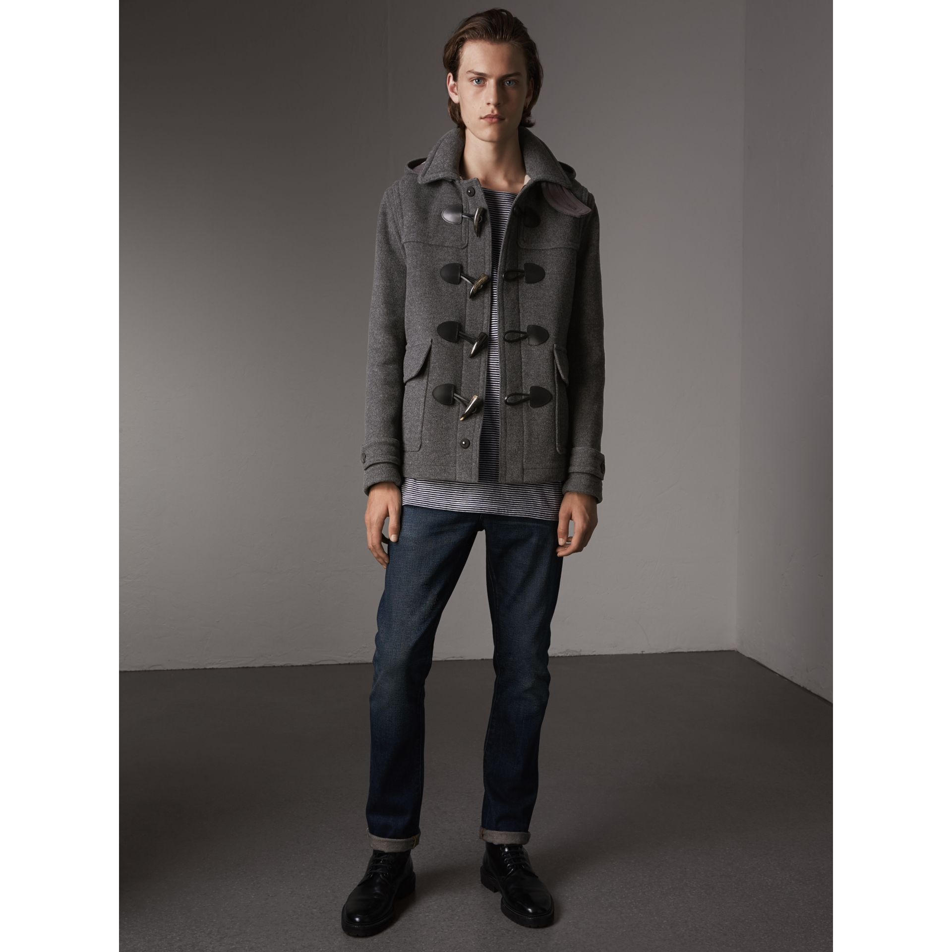 Wool Duffle Jacket with Detachable Hood in Mid Grey Melange - Men | Burberry - gallery image 6