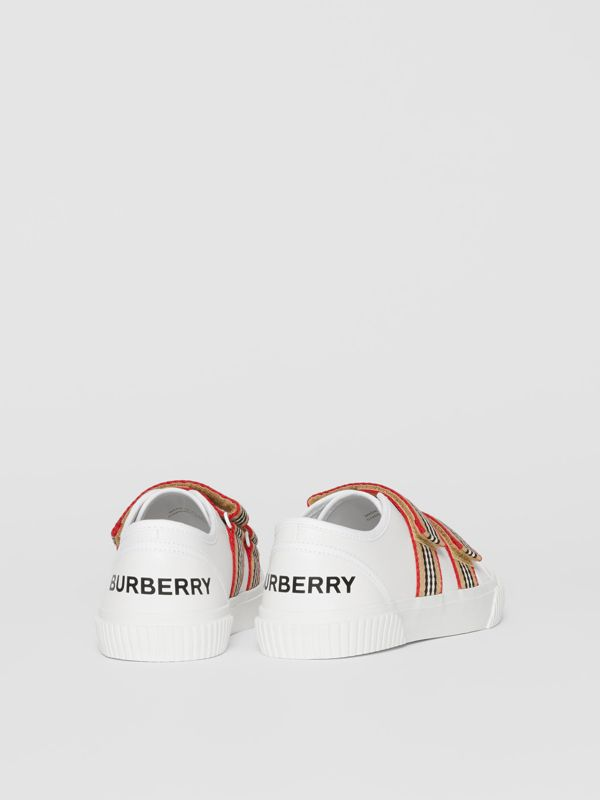 Icon Stripe Detail Leather Sneakers in White - Children | Burberry Hong Kong S.A.R - cell image 2