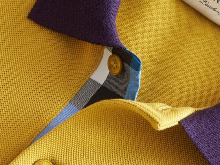 Two-tone Check Placket Cotton Piqué Polo Shirt Gorse Yellow - cell image 1