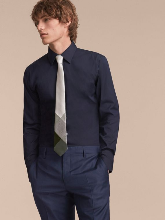 Modern Cut Gingham Check Silk Jacquard Tie in Slate Green - Men | Burberry Australia - cell image 2