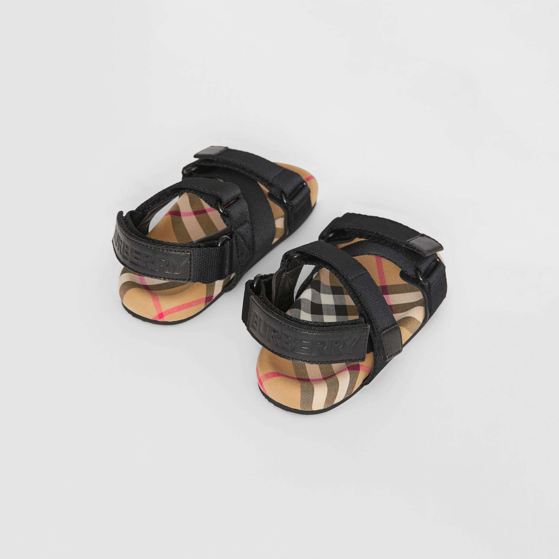 Ripstop Strap Vintage Check Cotton Sandals in Black/antique Yellow - Children | Burberry - gallery image 2