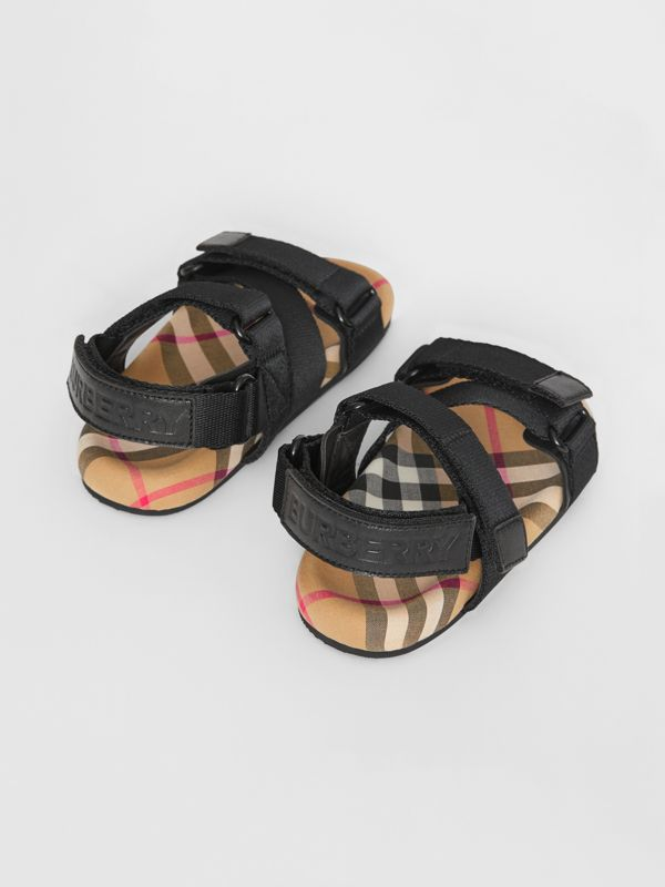 Ripstop Strap Vintage Check Cotton Sandals in Black/antique Yellow - Children | Burberry Singapore - cell image 2