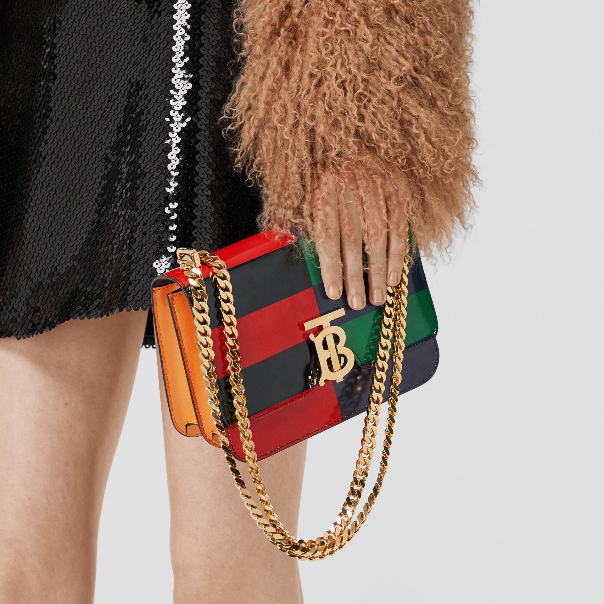 Small Striped Leather TB Bag in Black - Women | Burberry - gallery image 2