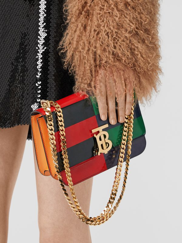 Small Striped Leather TB Bag in Black - Women | Burberry - cell image 2
