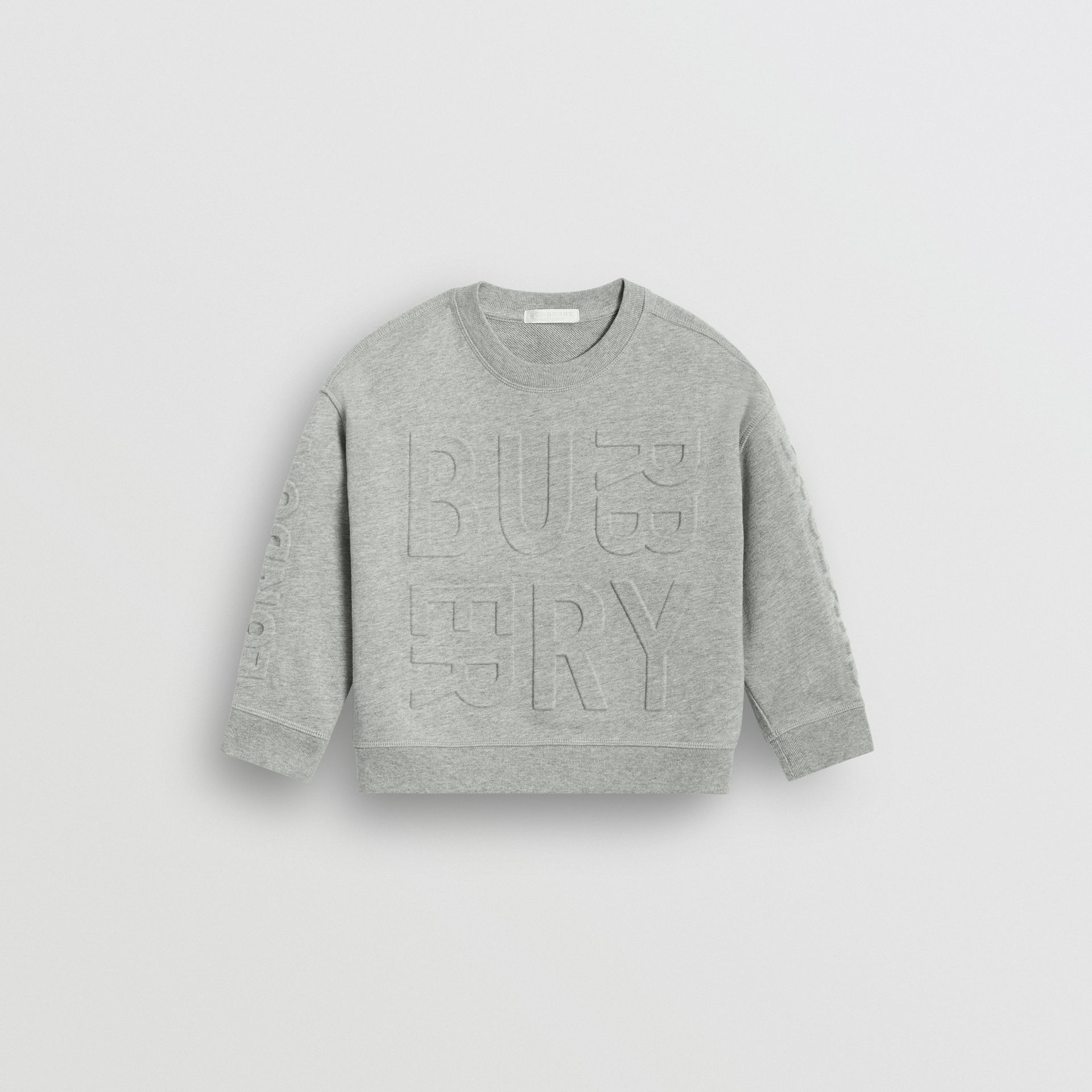 Embossed Logo Cotton Sweatshirt in Grey Melange | Burberry Australia - gallery image 0