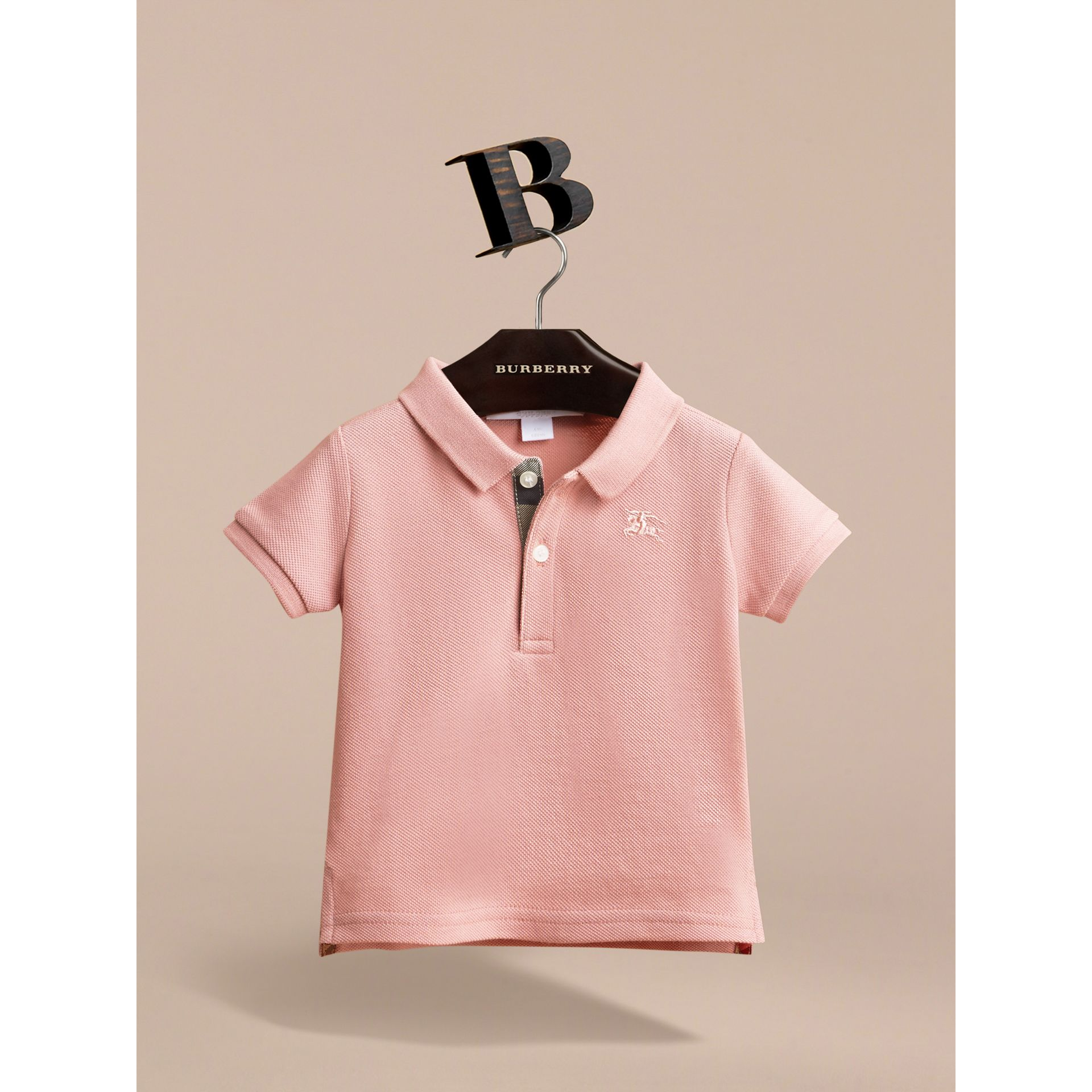 Check Placket Cotton Piqué Polo Shirt in Chalk Pink | Burberry - gallery image 2