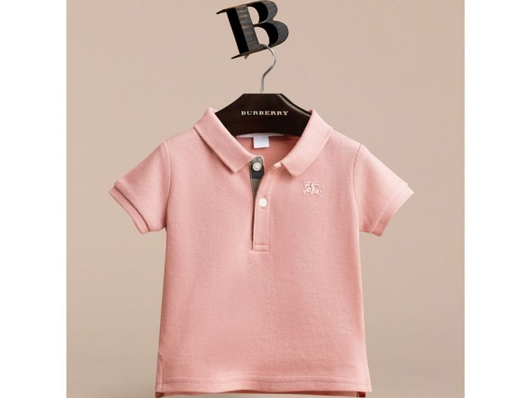 Check Placket Cotton Piqué Polo Shirt in Chalk Pink | Burberry - cell image 1