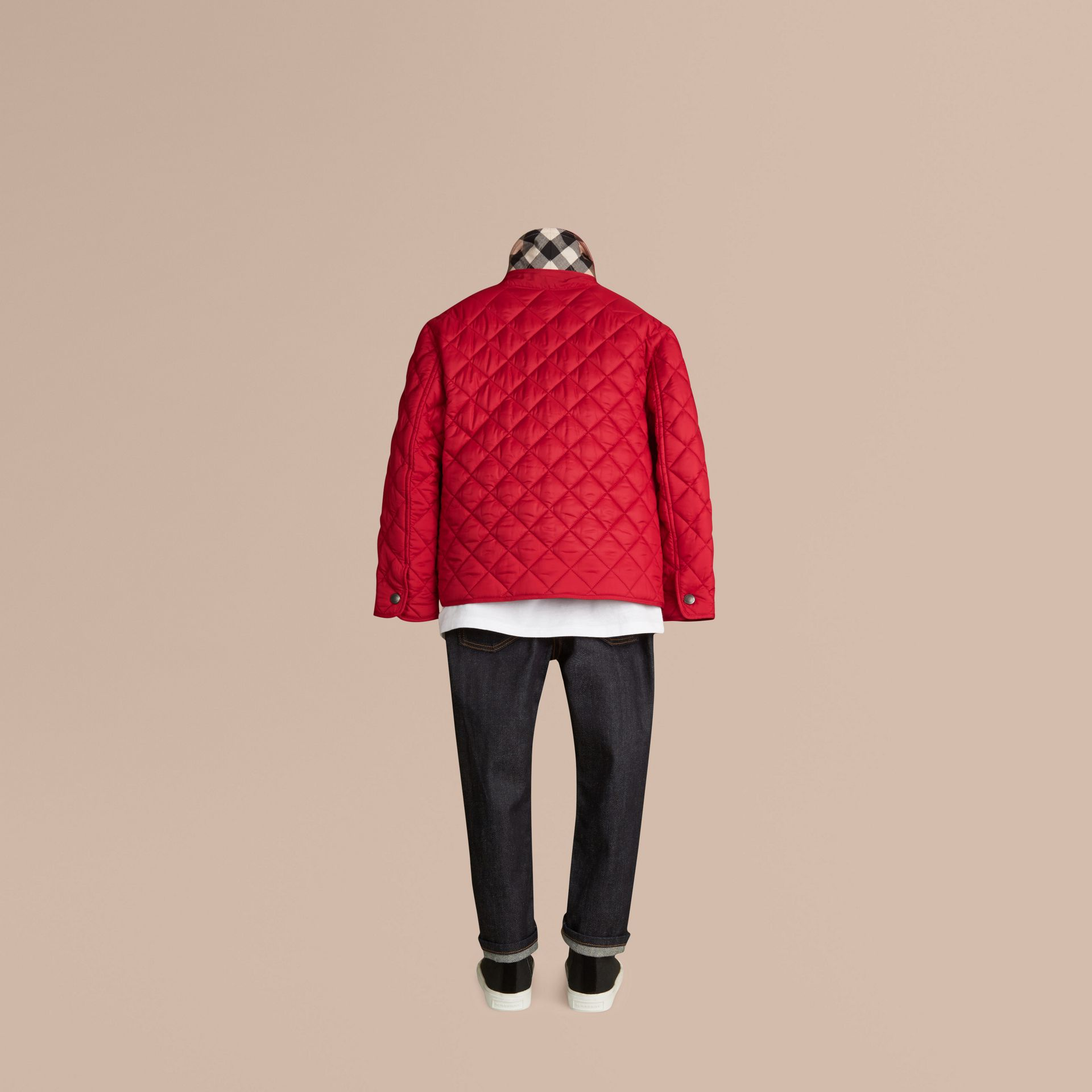 Diamond Quilted Jacket Bright Cherry Red - gallery image 4