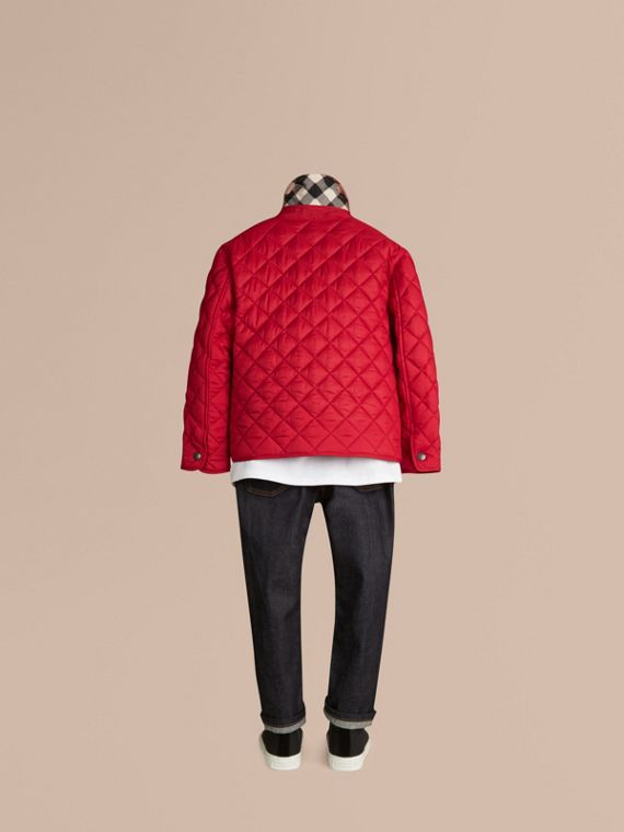 Diamond Quilted Jacket Bright Cherry Red - cell image 3